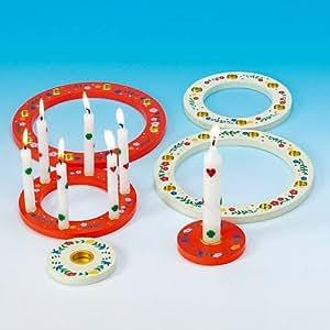 Geburtstagsset bois de 3 anneaux blanc 18 cm-multicolore/rouge-multicolore