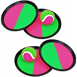 Velcro Paddle Catch Ball Set Toss And Catch Sports Game Set For Kids With Ball & Grip Mitts (2Pcs)