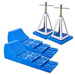 Bloccaggio a cuneo multifunzionale, set da due blocchi per ruote di camper o roulotte