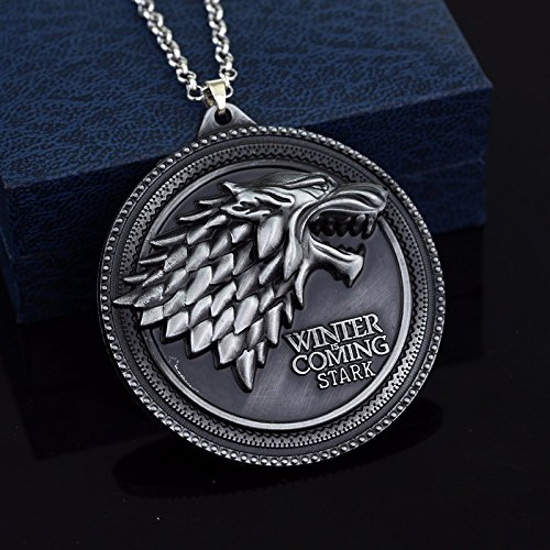 Game of Thrones Round Necklace Pendant with House Stark Wolf Logo |...