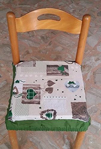 N.6 cuscini coprisedia quadrati universali sfoderabili con zip shabby chic cuore verde