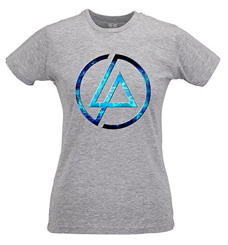 T-shirt Donna Slim Linkin Park Futuristic Logo - Maglietta 100% cotone ring spun LaMAGLIERIA Grigio