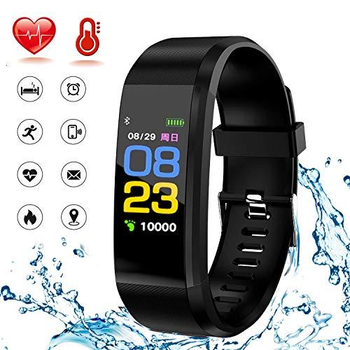 WADEO Fitness Armband mit Blutdruckmessung, Fitness Tracker mit Pulsmesser Smartwatch Wasserdicht IP67 Farbbildschirm Sport GPS Aktivitätstracker Pulsuhren für Kinder Damen Herren,Schwarz