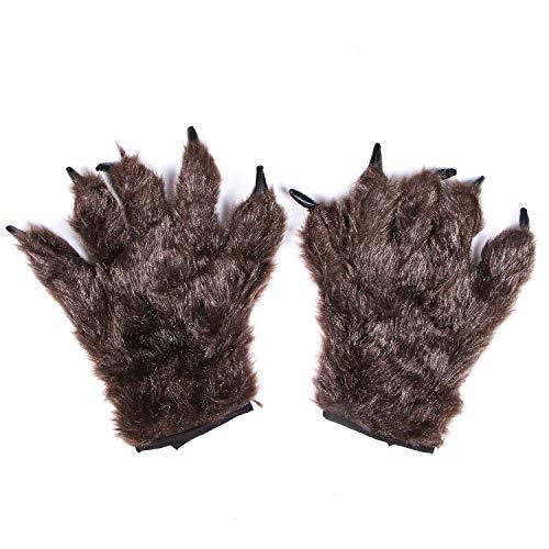 JETEHO Wolf-Handschuhe, haarige Hände, Tierpfotenhandschuhe, Werwolf, Bär, Monster, Kostüm-Zubehör (braun)