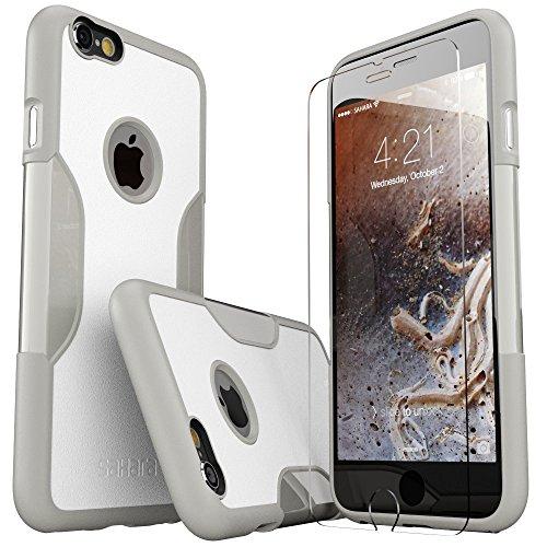 iPhone 6 Plus Hülle, (Grau Weiß) SaharaCase Schutz Kit Paket mit Null Schaden [ZeroDamage gehärtetes Glas Bildschirmschutz] Robuster Schutz Anti-Rutsch-Griffigkeit [Stoß sicherer Puffer] Schlanke Passform (Iphone 6 Att 16gb Verwendet)