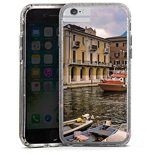 Apple iPhone 7 Bumper Hülle Bumper Case Glitzer Hülle Venedig Venice Fluss Bumper Case Glitzer rose gold