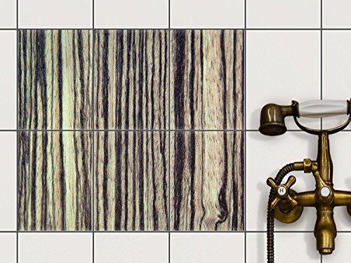 Dekor-Fliesen | Selbstklebende Aufkleber Folie Sticker Badfliesen Küchen-Folie Badezimmergestaltung | 15x20 cm Design Motiv Schnurstracks - 6 Stück