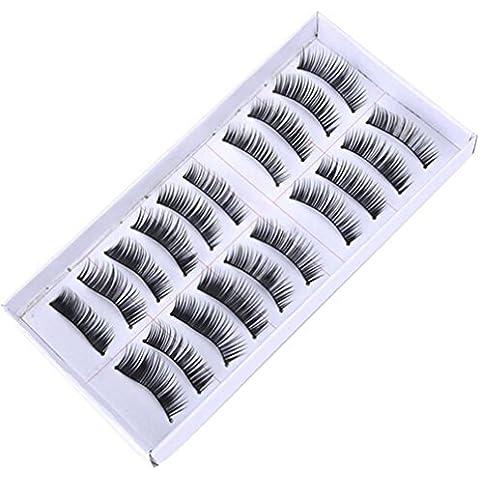 Pegamento Pestañas Postizas, Oyedens 10 Pares De Long Cruz Pestañas Falsas Del Maquillaje Natural Falsas Gruesas Pestañas Negras