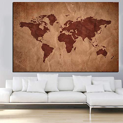 Blaue Weltkarte 3D Leinwand Malerei moderne Erde HD gedruckt in Leinwand Büro Besprechungsraum Bild Wandkunst Dekoration in einer Vielzahl von Farben erhältlich (kein Rahmen)