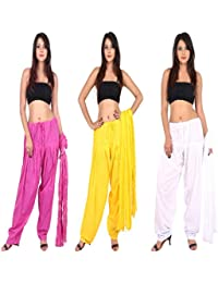 TEEJ New Women's Solid Cotton Punjabi Patiala Salwar With Dupatta Combo Pack Of 03 Pcs - B073GSFFX4