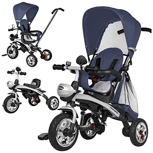 Dreirad Kinderdreirad Kinder Lenkstange Kinderdreirad mit Abnehmbarer Sonnendach Fahrrad Kinderwagen Baby (KP0566NBLU)