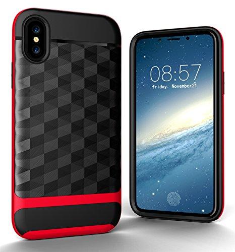 CaseforYou Hülle iphone X Schutz Gehäuse Hülse 3D RhombusBrushed Texture Anti Shock Cover Anti-Slip Protective Shell Schutzhülle für iphone X (Golden) Red