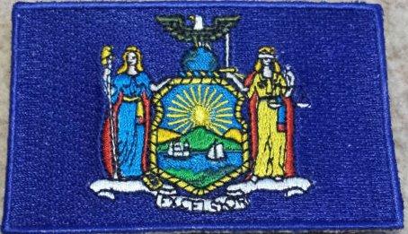 York Eisen Auf Patch-new (New York State Flag Blue bestickt abzeichen Patch Aufnäher oder zum Aufbügeln 9cm x 6,5cm)