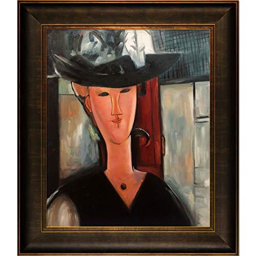 overstockArt Portrait of Mrs Pompadour 1915 Gerahmte Ölreproduktion eines Originalgemäldes von Amedeo Modigliani, Veine D oder Bronze Scoop, bronzefarben und sattem Braun - Amedeo Modigliani Gerahmte Leinwand