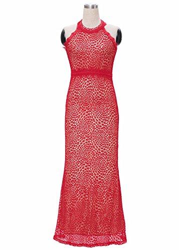 Frauen Backless Fashion Sexy Reißverschluss Verschluss Weeding Party Lange Kleid Rot