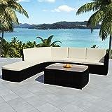 Tuduo Garten-Sofagarnitur 15-tlg. Garten Lounge Set Poly Rattan Gartengarnitur Schwarz