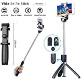 Vida Selfie Stick Bluetooth, Extendable Selfie Stick with Wireless Remote and Tripod Stand Selfie Stick for iPhone X/iPhone XS/iPhone XSMax/ iPhone XR/iPhone 8/8 Plus/iPhone 7/iPhone 7 Plus/Galaxy S9/S9 Plus/Note 8/S8/S8 Plus/More (Black)