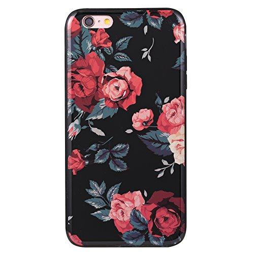 Ecoway Apple iPhone 6s Plus(5.5 Zoll ) IMD Case Cover, TPU Série de fleurs de porcelaine Shell autour du diamant Housse en Housse de protection Housse pour téléphone portable pour Apple iPhone 6s Plus A1