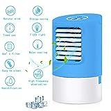 Portable Refroidisseur d'air Mini 4 En 1 Mobile Climatiseur Personnel Silencieux Ventilateur Mobile Humidificateur 7 Couleurs Lumière d'ambiance Climatiseur Air Cooler Pour Chambre Bureau (bleu)