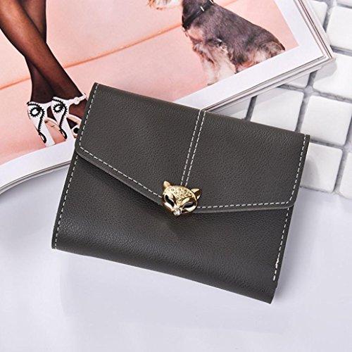 Portafoglio Donna, Tpulling Borsa della borsa della signora della borsa della frizione del raccoglitore del cuoio delle donne di modo (Black) Dark Gray