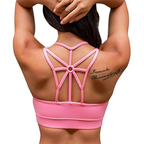 iBaste Soutien Gorge de Sport Femme Sans Armatures avec Bretelles Fines pour Yoga Gym Fitness Rose
