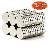 Magnete, GogoTool Neodym Magnet 10mm 60 Stück Rund Klein Magnete Ultra Starke Mini Magnete für Whiteboard, Pinnwand, Magnettafel, Kühlschrank
