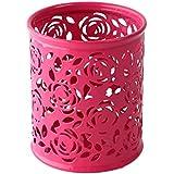 Oydens Ciselé Pot à Crayons en Métal avec Style de Roses (Rouge)