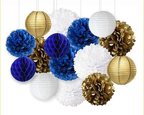 NAVY blau weiß gold Party Papier Blume Seidenpapier Pom Poms Navy Mottoparty Dekoration Baby Dusche Kinderzimmer Dekoration