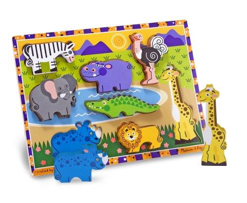 Melissa & Doug 13722 Safari Wooden Chunky Puzzle, Multicolour, 8 Pieces