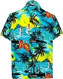 LA LEELA Shirt Camicia Hawaiana Uomo XS - 5XL Manica Corta Hawaii Tasca-Frontale Stampa Hawaiano Casuale Regular Fit Blu Ottanio1896 M