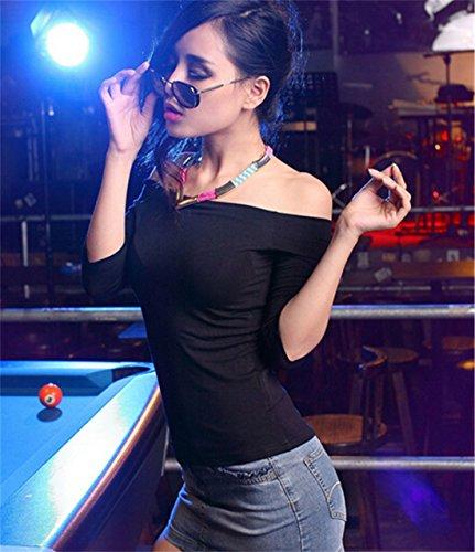 Femmes Sexy Douce De L'Epaule A Encolure Bateau Manches Demi-Shirt De Base T-Shirt Tops Noir
