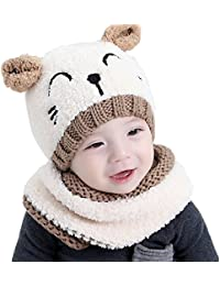 (Ensemble de 2 pièces)Chapeau de peluche souple en forme de chat mignon + Écharpe pour bébé garçons et filles