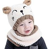 (Ensemble de 2 pièces)Chapeau de peluche souple en forme de chat mignon + Écharpe pour bébé garçons et filles (beige)