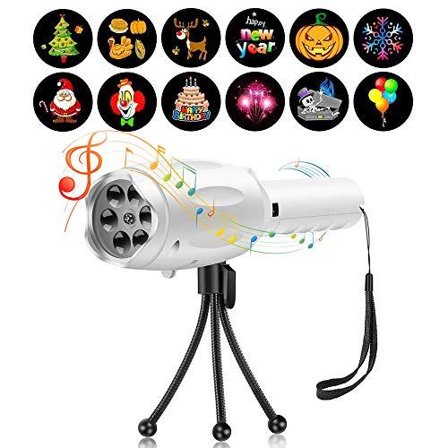 (Musical LED Kinder Weihnachts Handheld Projektor Taschenlampe Licht Projektionslampe Spielzeug mit 12 Dias Weihnachtslicht Feiertagsdekoration für Weihnachten Halloween Geburtstag Parteien Geschenk)