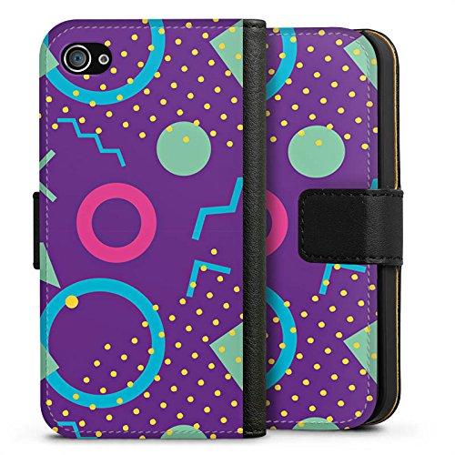 Apple iPhone X Silikon Hülle Case Schutzhülle Retro Muster Dreiecke Sideflip Tasche schwarz