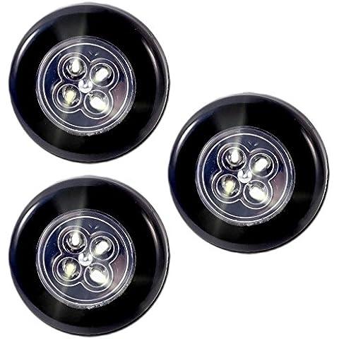 COM-FOUR LED lampadina luce Push Touch con adesivo nero Set da 3