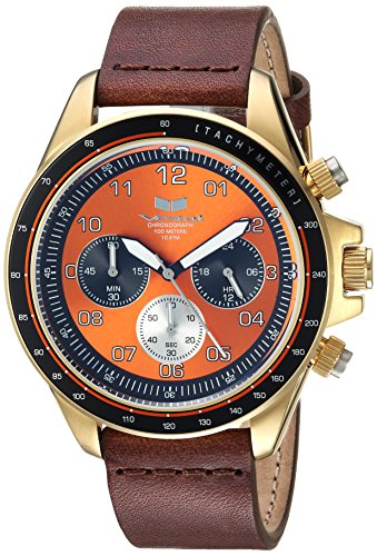 Vestal 'ZR2' Quartz Stainless Steel and Leather Casual Watch, Color:Brown (Model: ZR243L22.BR)