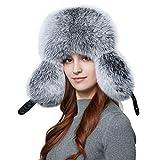BeFur Unisex Pelzmütze Winter warme Fliegermütze echte Leder Mit Ohrenklappen - S blau frost