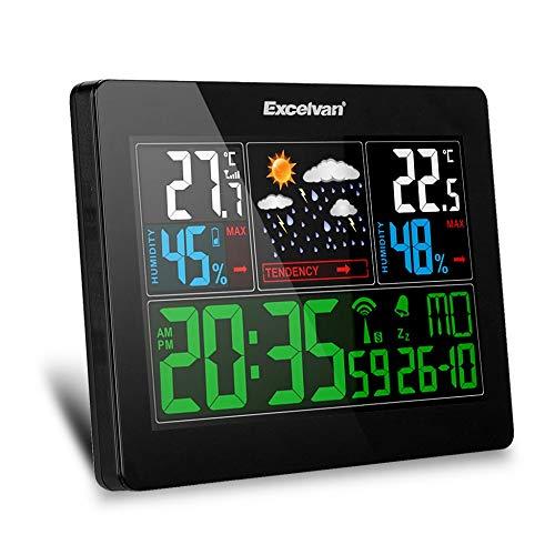 HXUJ Funkwetterstation Indoor Outdoor Wetterstation Hygrometer Station Thermometer Wecker mit Außensensor