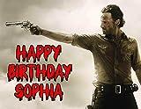 The Walking Dead Rick Grimes Essbar Bild Foto Tortenaufsatz Tabelle Personalisierte Custom- und Geburtstag–1/4Blatt–78370von Sweet Custom Kuchen