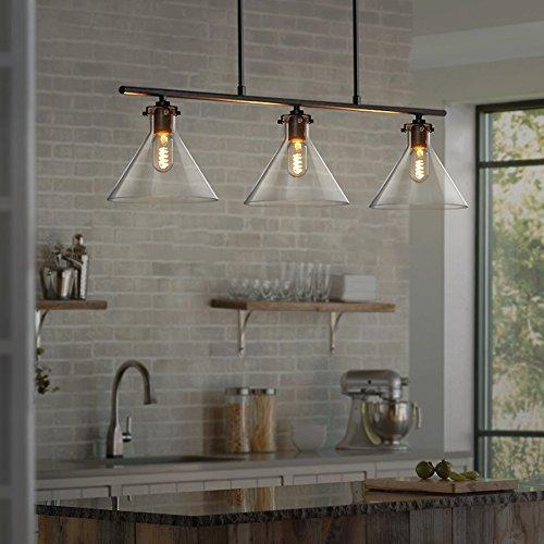 ZMH Pendelleuchte aus Glas Esszimmer-Hängelampe Pendellampe Hängeleuchte, E27 Leuchtmittel 3-Flammig inklusiv, Höhenverstellbar Deckenleuchte für Esszimmer/Wohnzimmer / Büro/cafe (3-flammig) -