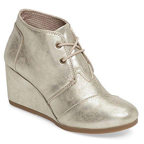 MIA Frauen Totenkopf-Boot, White Gold Metallic (Synthetic Leather) - Größe: 41 EU