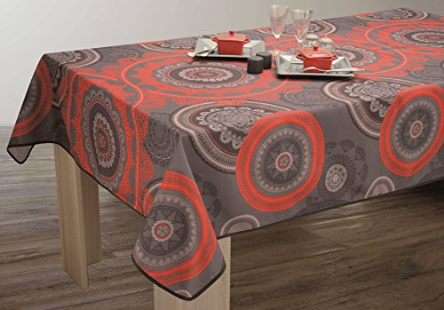Nappe anti-taches Mandala Rouge - taille : Rectangle 150x300 cm