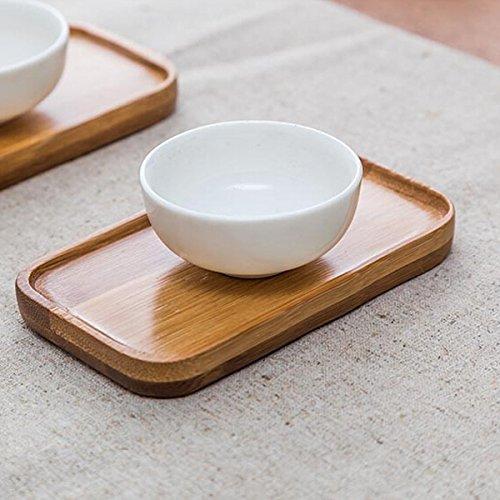 PANGUN Rechteck Bamboo Scald Proof Tea Cup Holder Coaster Kungfu Tea Zugänge Bambus Coaster Set