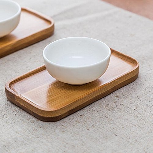 Bluelover Rechteck Bambus Verbrühen Beweis Tee Cup Holder Coaster Kungfu Tee Mithelfer -