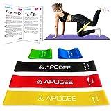 APOGEE Cinta elastica musculacion, Conjunto (5) de bandas elásticas fitness con guía de entrenamiento en espanol, Perfecto para deportes fitness yoga squat glutes piernas caderas hombros pilates