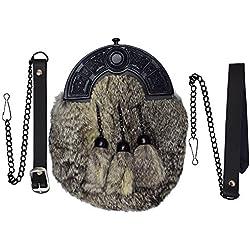 Completo Vestido Falda Escocesa Sporran Gris Conejo Piel Negro Celta Borrén Trasero/Escocés Bolso Tipo Sporran