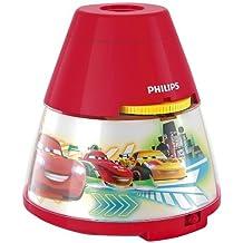 Philips Disney Cars - Proyector y luz nocturna 2 en 1, luz blanca cálida, bombilla LED de 0,3 W, color rojo