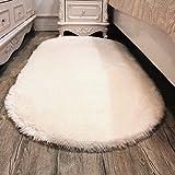 Pingenaneer Weich und Flauschig Fleece Teppiche 80 x 160cm für Wohnzimmer und Schlafzimmer, Rutschfest, Saugfähig Teppich Antibakteriell Vorleger Teppich Oval Shaped (Beige)