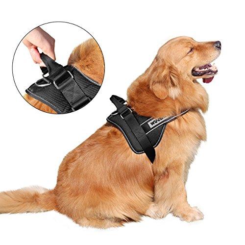 No-Pull-Hundegeschirr,WINSEE Komfortables Sicher -Hundegeschirr,Einstellbare weiche und reflektierendes Brustgeschirr für kleine mittlere große Hunde in drei Größen(M,L,XL),sicher Kontrolle einfach weicht Gassi gehen.L